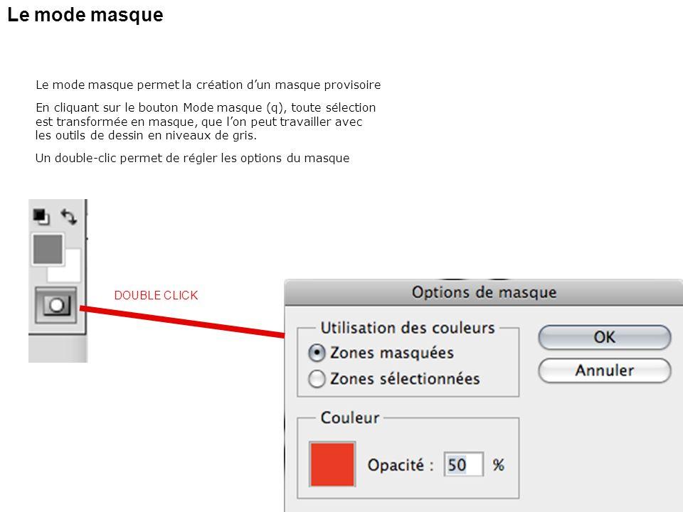 Le mode masque Le mode masque permet la création dun masque provisoire En cliquant sur le bouton Mode masque (q), toute sélection est transformée en m