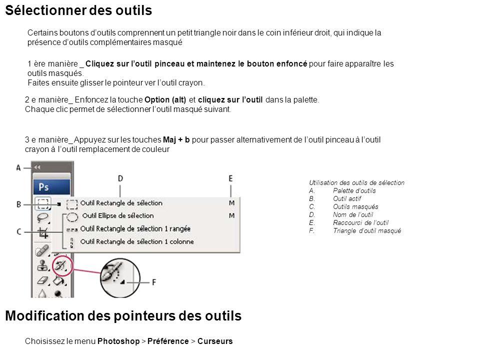 La barre doptions La barre doption permet de définir les propriétés de loutil.