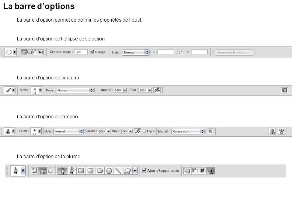La barre doptions La barre doption permet de définir les propriétés de loutil. La barre doption de lellipse de sélection La barre doption du pinceau L