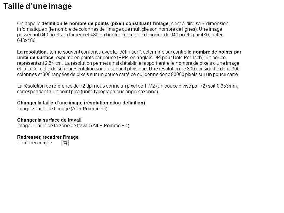 Les erreurs Et la touche magique permettant dannuler la dernière opération est; Pomme + Z Les touches pour remonter le temps Pomme + Alt (option) + Z Les touches pour revenir vers le présent Pomme + maj + Z Revenir à la dernière version enregistrée Fichier > Version précédente Ou bien utilisez la palette Historique Créer un document à partir de létat Définir un instantané Peindre en revenant à létat sélectionné Palette Historique de Photoshop A.Définit la source pour la forme dhistorique B.Vignette dun instantané C.Etat dhistorique D.Curseur dun état dhistorique Vers létat actuel Supprimer létat actuel