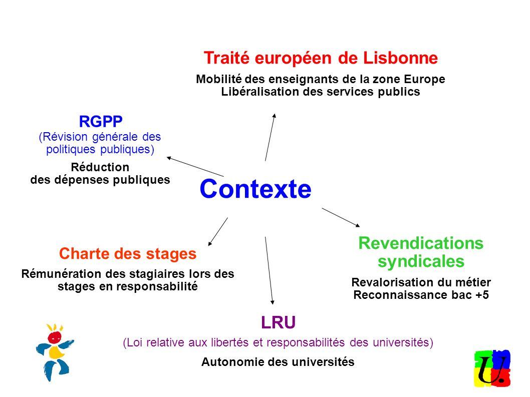 Contexte RGPP (Révision générale des politiques publiques) Réduction des dépenses publiques Traité européen de Lisbonne Mobilité des enseignants de la
