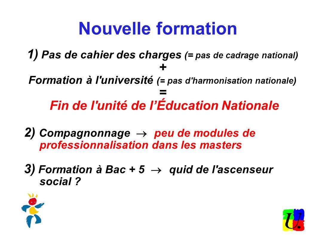 Nouvelle formation 1) Pas de cahier des charges (= pas de cadrage national ) + Formation à l'université ( = pas d'harmonisation nationale ) = Fin de l
