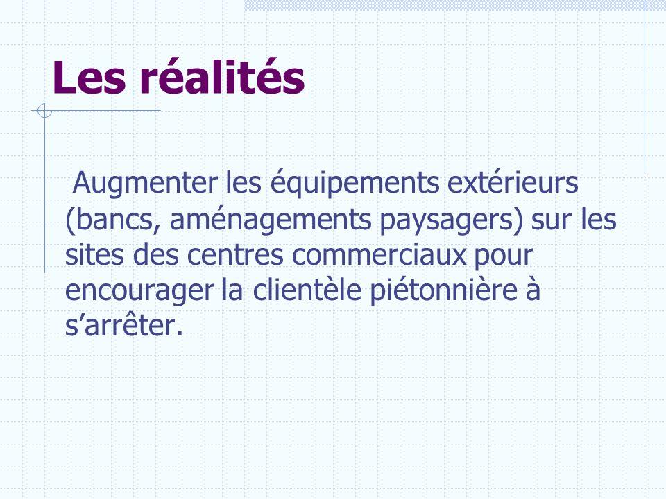 Les réalités Augmenter les équipements extérieurs (bancs, aménagements paysagers) sur les sites des centres commerciaux pour encourager la clientèle p