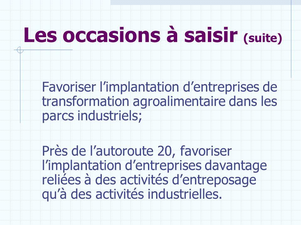 Les occasions à saisir (suite) Favoriser limplantation dentreprises de transformation agroalimentaire dans les parcs industriels; Près de lautoroute 2