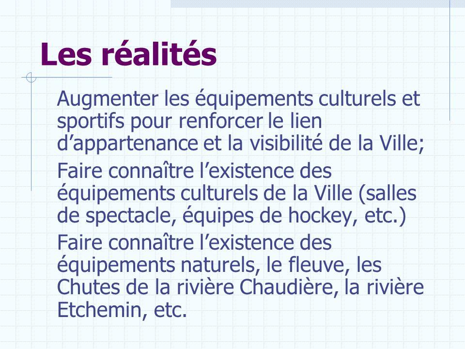 Les réalités Augmenter les équipements culturels et sportifs pour renforcer le lien dappartenance et la visibilité de la Ville; Faire connaître lexist