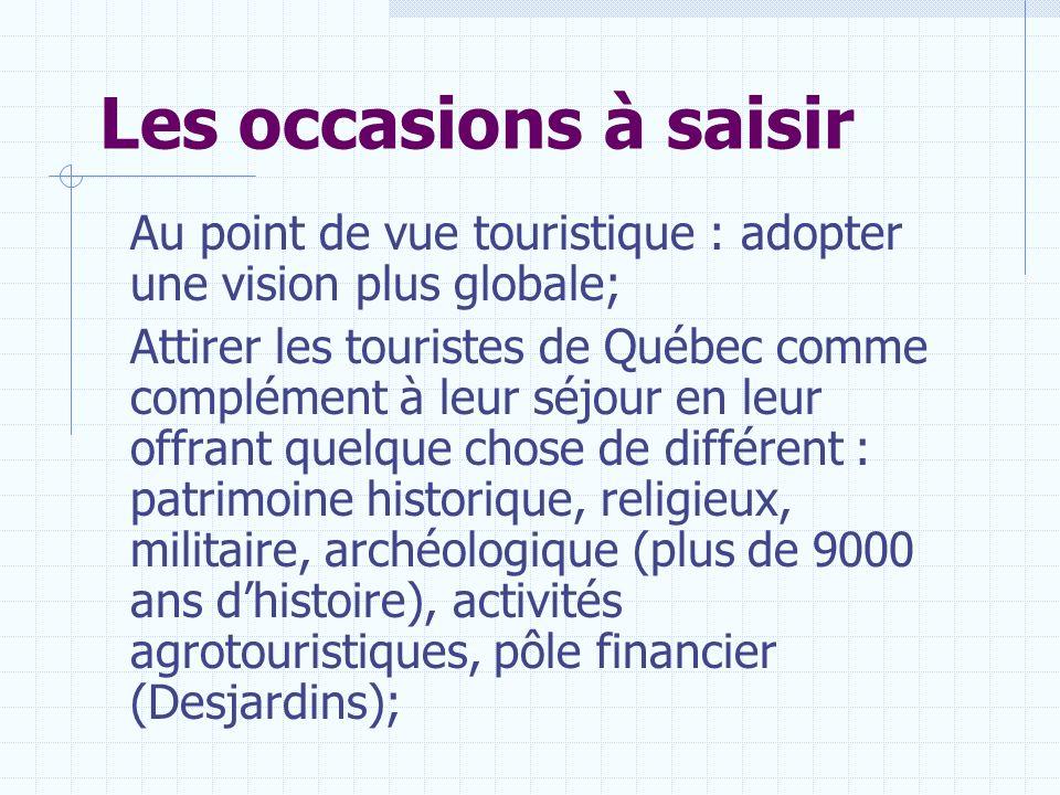 Les occasions à saisir Au point de vue touristique : adopter une vision plus globale; Attirer les touristes de Québec comme complément à leur séjour e