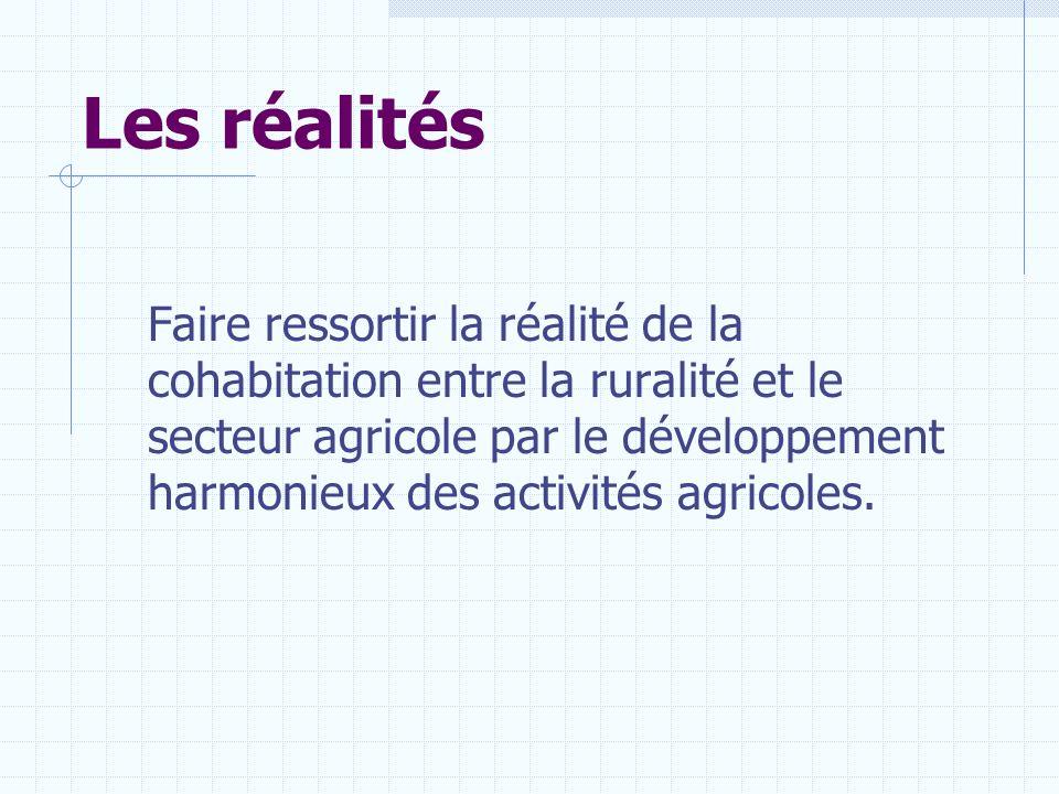 Les réalités Faire ressortir la réalité de la cohabitation entre la ruralité et le secteur agricole par le développement harmonieux des activités agri