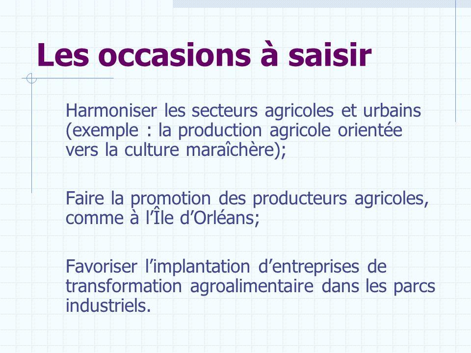 Les occasions à saisir Harmoniser les secteurs agricoles et urbains (exemple : la production agricole orientée vers la culture maraîchère); Faire la p