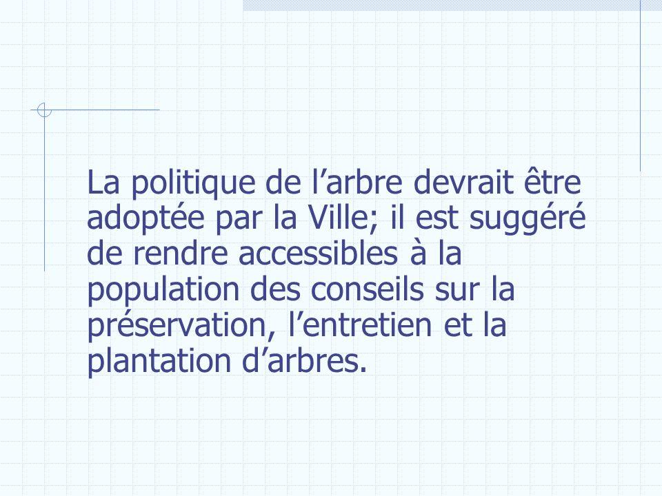 La politique de larbre devrait être adoptée par la Ville; il est suggéré de rendre accessibles à la population des conseils sur la préservation, lentr