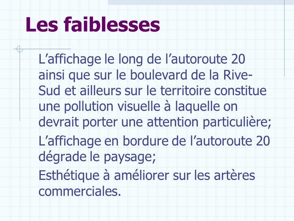 Les faiblesses Laffichage le long de lautoroute 20 ainsi que sur le boulevard de la Rive- Sud et ailleurs sur le territoire constitue une pollution vi
