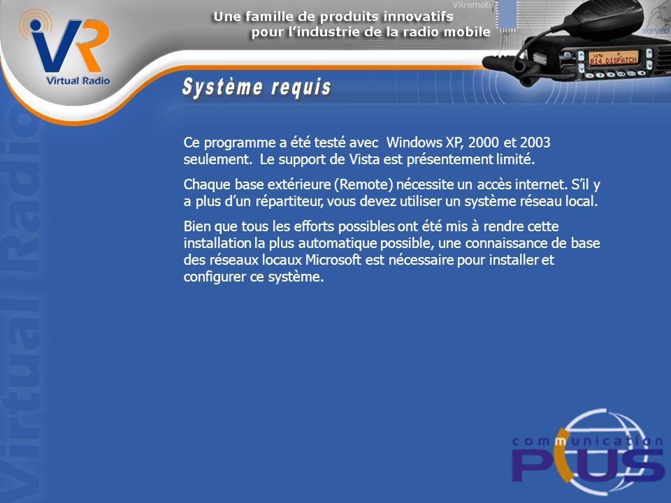 Ce programme a été testé avec Windows XP, 2000 et 2003 seulement.