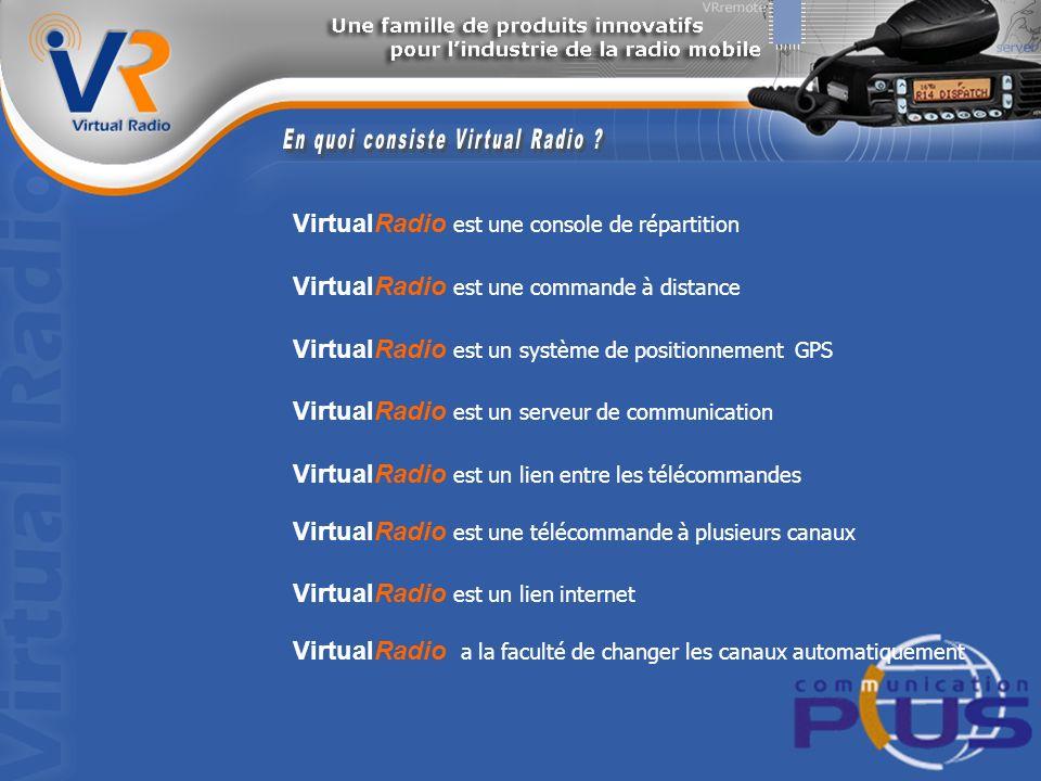 VirtualRadio est une console de répartition VirtualRadio est une commande à distance VirtualRadio est un système de positionnement GPS VirtualRadio est un serveur de communication VirtualRadio est un lien entre les télécommandes VirtualRadio est une télécommande à plusieurs canaux VirtualRadio est un lien internet VirtualRadio a la faculté de changer les canaux automatiquement