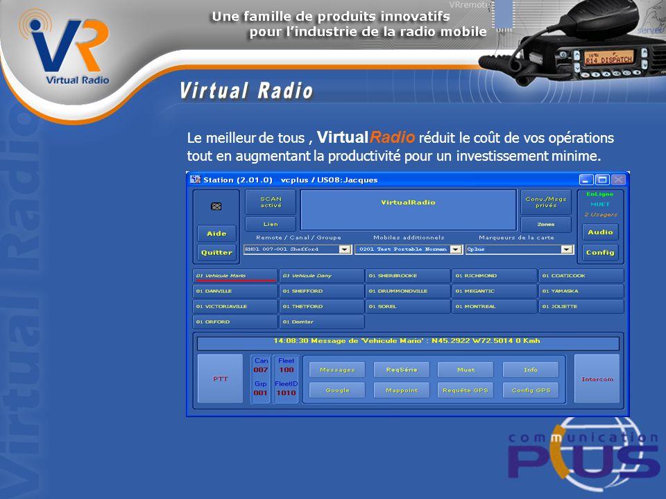 Le meilleur de tous, VirtualRadio réduit le coût de vos opérations tout en augmentant la productivité pour un investissement minime.