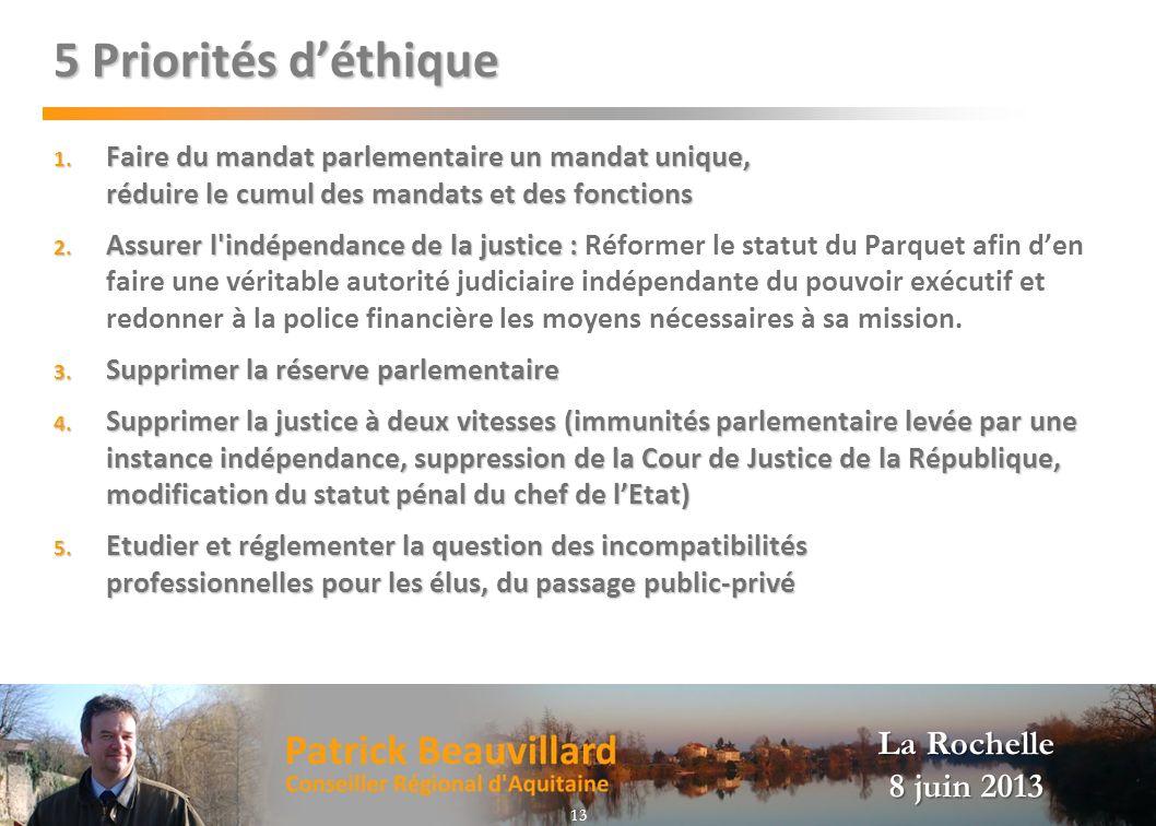 La Rochelle 8 juin 2013 5 Priorités déthique 1. Faire du mandat parlementaire un mandat unique, réduire le cumul des mandats et des fonctions 2. Assur