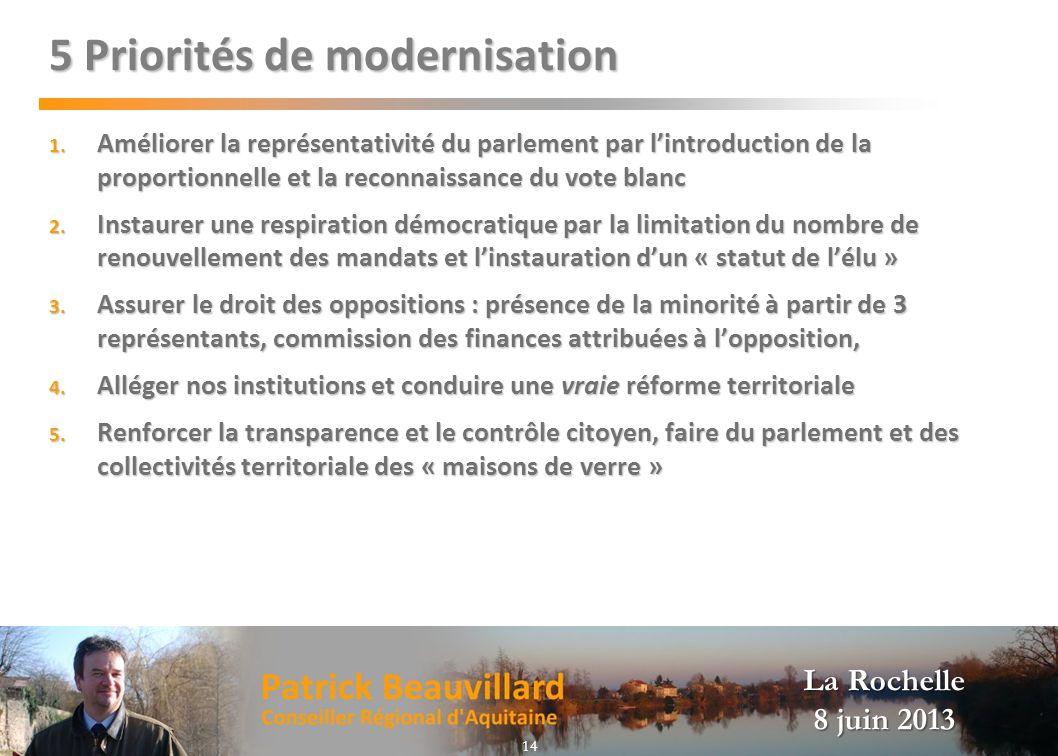 La Rochelle 8 juin 2013 5 Priorités de modernisation 1. Améliorer la représentativité du parlement par lintroduction de la proportionnelle et la recon