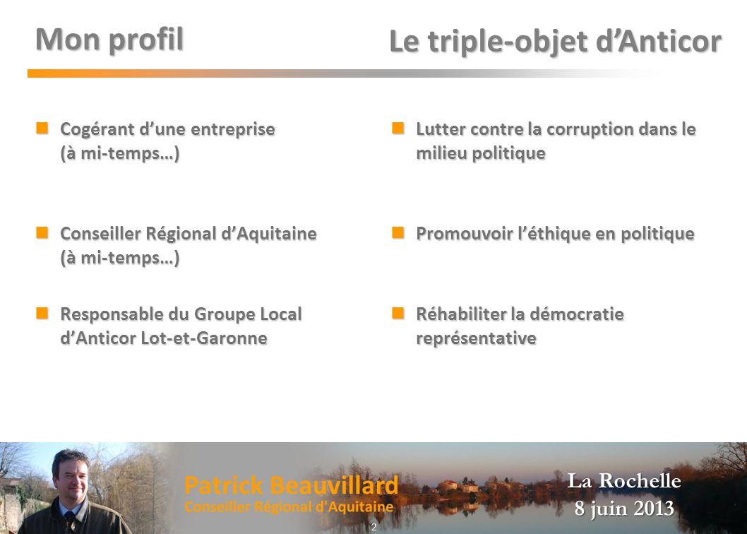 La Rochelle 8 juin 2013 Mon profil Cogérant dune entreprise (à mi-temps…) Cogérant dune entreprise (à mi-temps…) Conseiller Régional dAquitaine (à mi-
