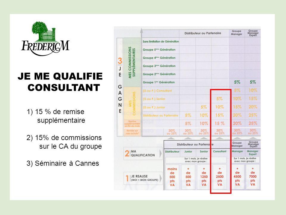 JE ME QUALIFIE CONSULTANT 1) 15 % de remise supplémentaire 2) 15% de commissions sur le CA du groupe 3) Séminaire à Cannes