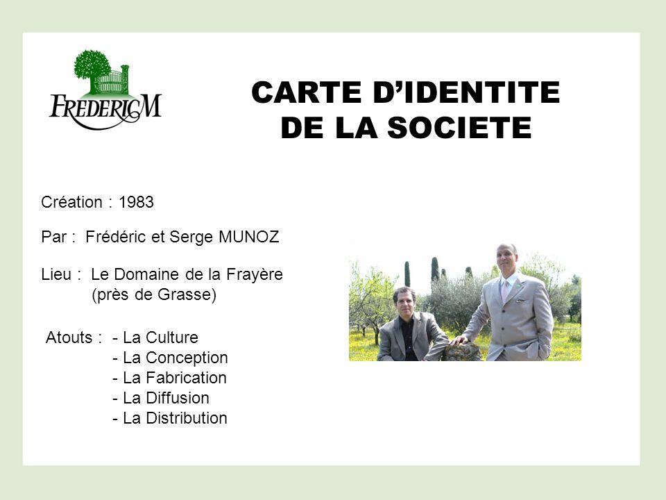 CARTE DIDENTITE DE LA SOCIETE Création : 1983 Par : Frédéric et Serge MUNOZ Lieu : Le Domaine de la Frayère (près de Grasse) Atouts : - La Culture - L