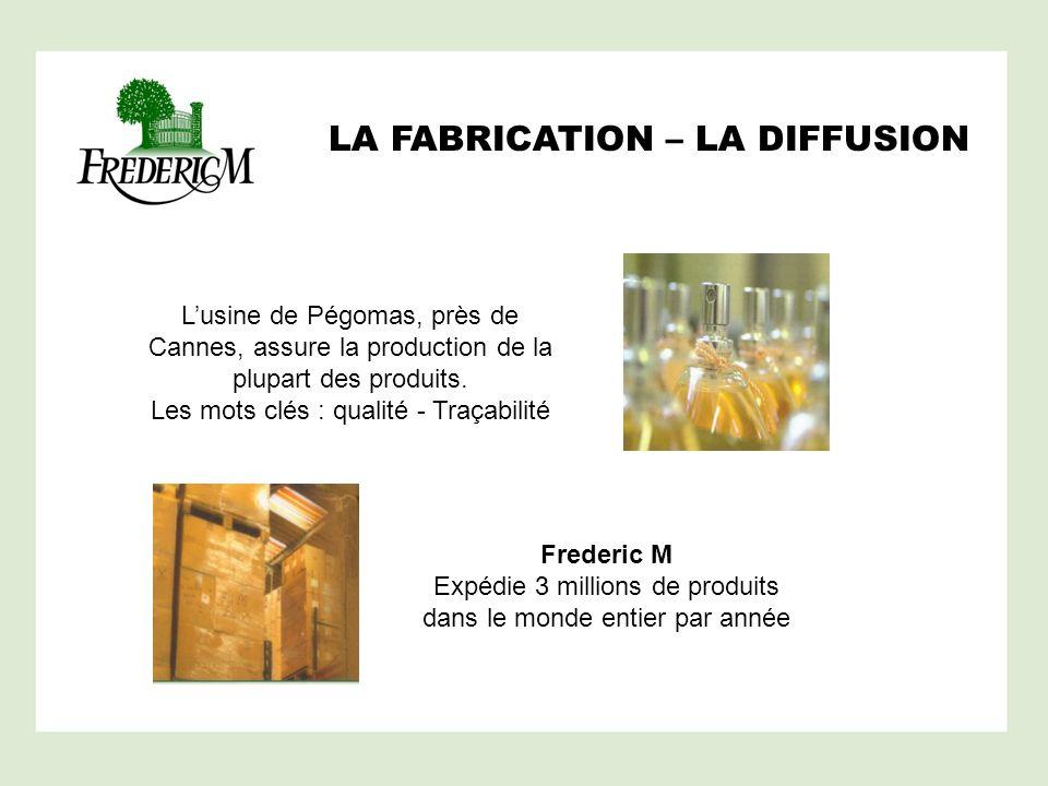 LA FABRICATION – LA DIFFUSION Lusine de Pégomas, près de Cannes, assure la production de la plupart des produits. Les mots clés : qualité - Traçabilit