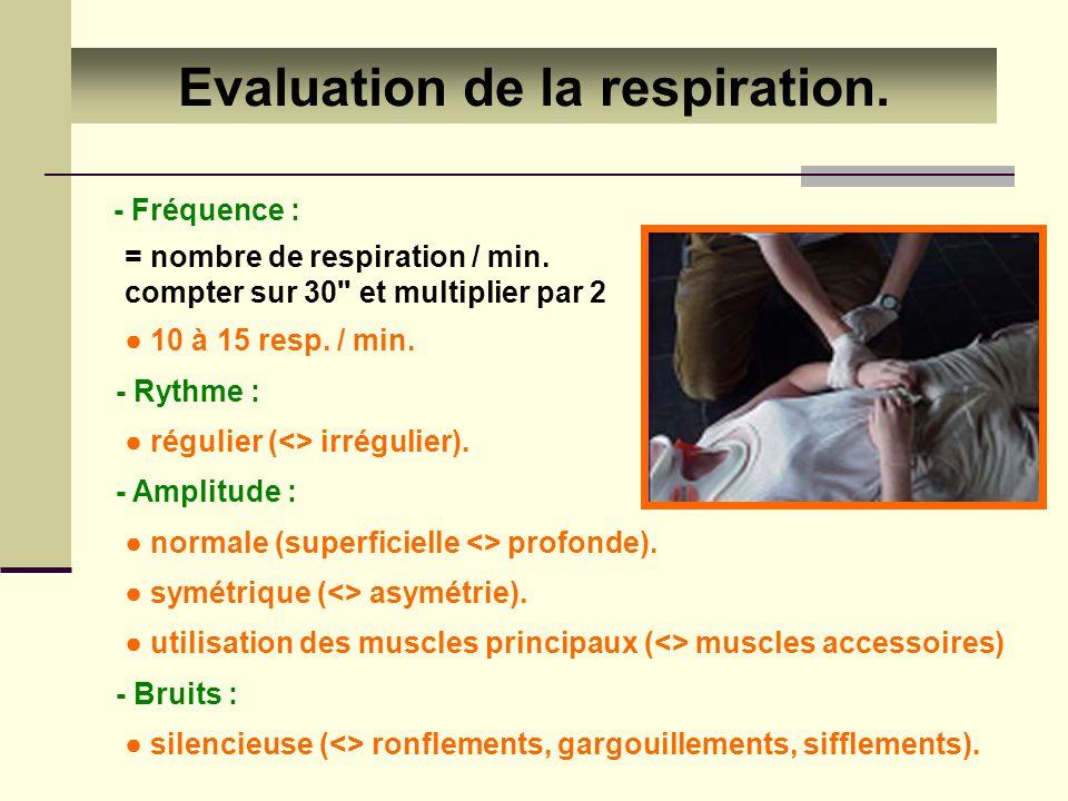 Evaluation de la respiration. - Fréquence : = nombre de respiration / min. compter sur 30