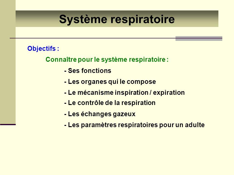 Système respiratoire Objectifs : Connaître pour le système respiratoire : - Les paramètres respiratoires pour un adulte - Ses fonctions - Les organes
