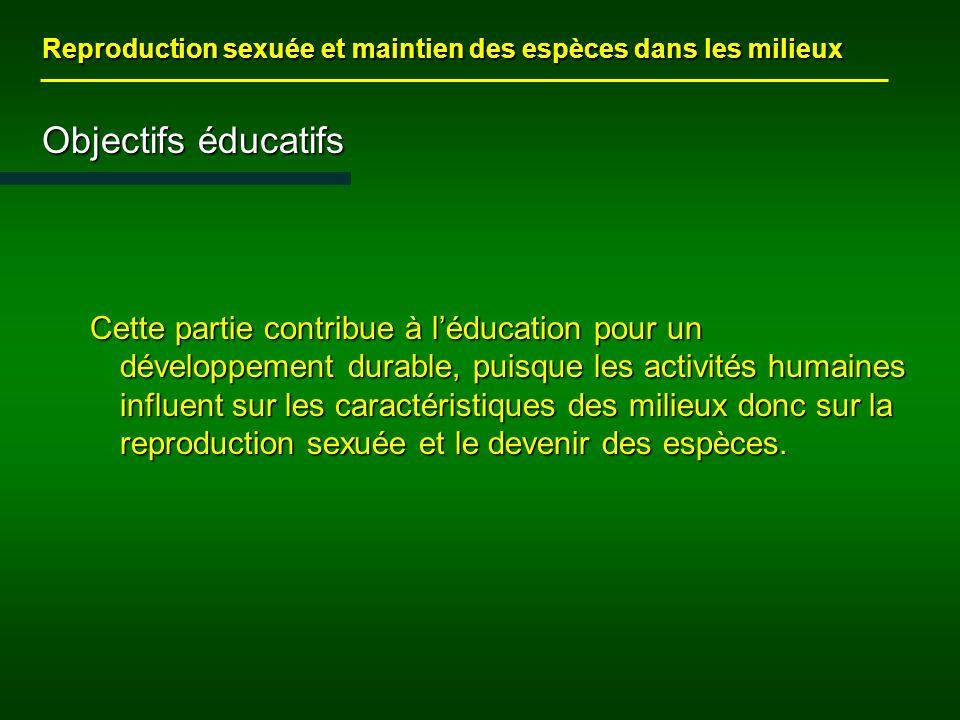 Objectifs éducatifs Cette partie contribue à léducation pour un développement durable, puisque les activités humaines influent sur les caractéristiques des milieux donc sur la reproduction sexuée et le devenir des espèces.
