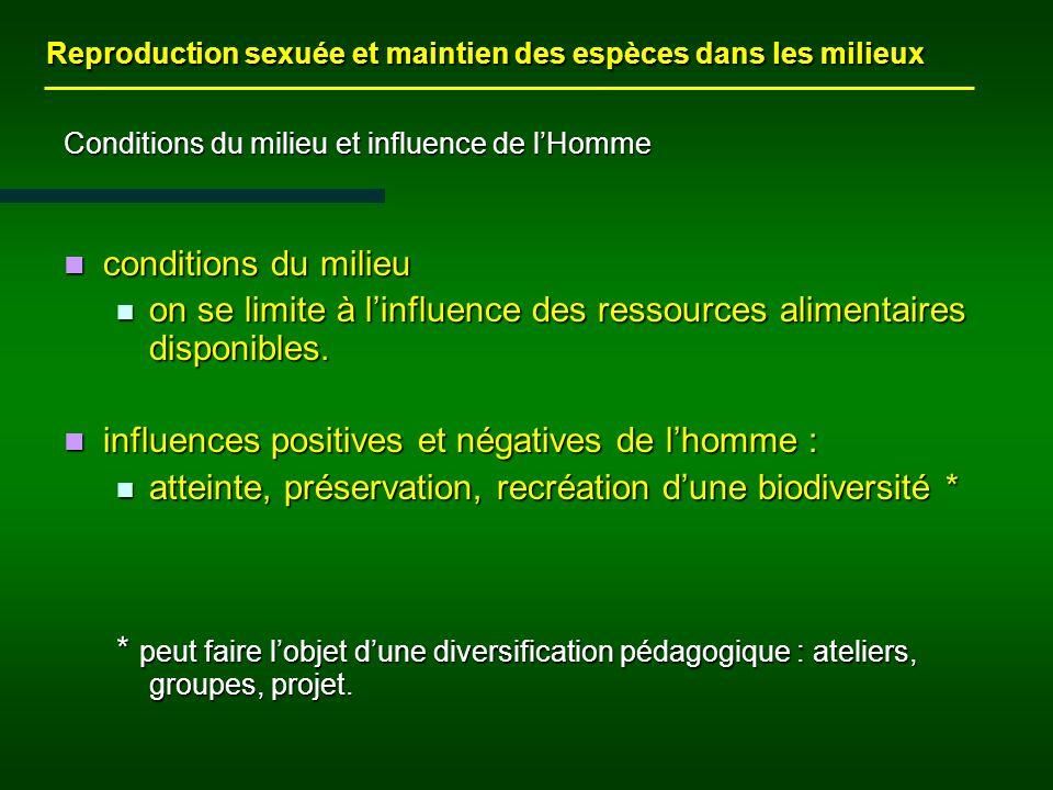 Conditions du milieu et influence de lHomme conditions du milieu conditions du milieu on se limite à linfluence des ressources alimentaires disponibles.