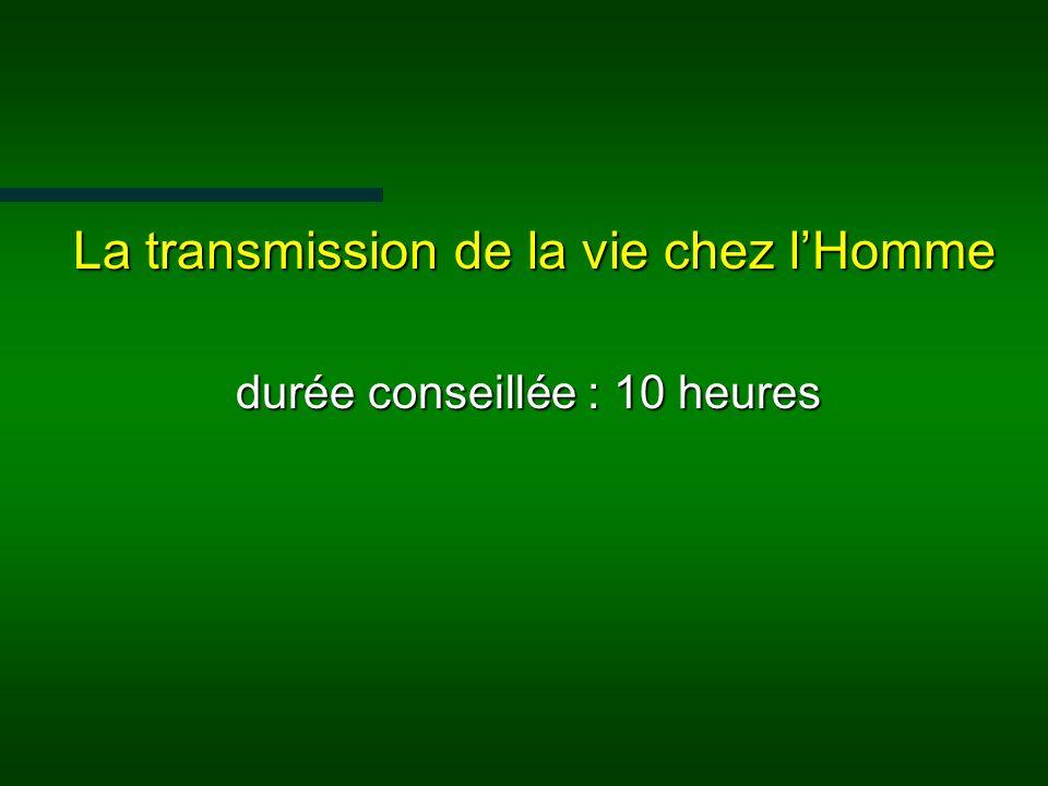 La transmission de la vie chez lHomme La transmission de la vie chez lHomme durée conseillée : 10 heures