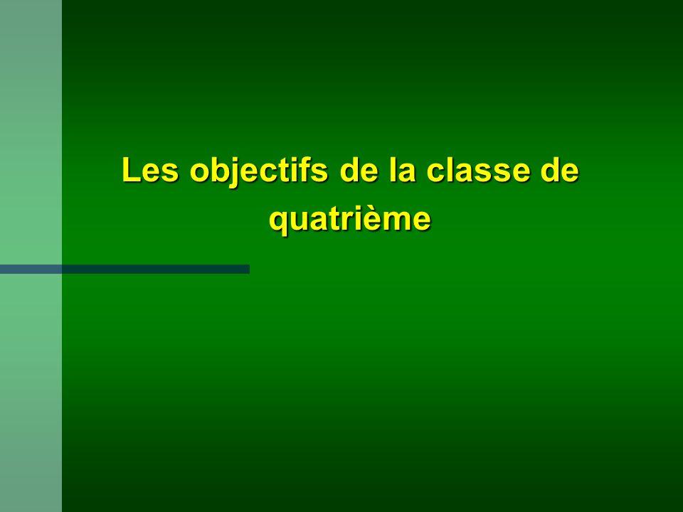 Les objectifs de la classe de quatrième