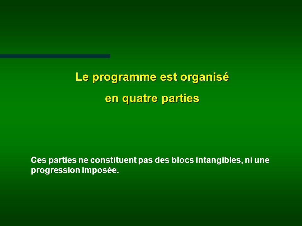 Le programme est organisé en quatre parties Ces parties ne constituent pas des blocs intangibles, ni une progression imposée.