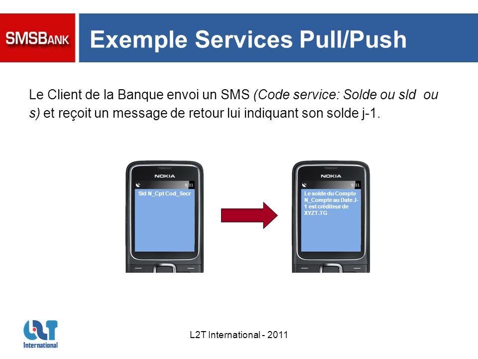 L2T International - 2011 Exemple Services Pull/Push Le solde du Compte N_Compte au Date J- 1 est créditeur de XYZT.TG Sld N_Cpt Cod_Secr Le Client de