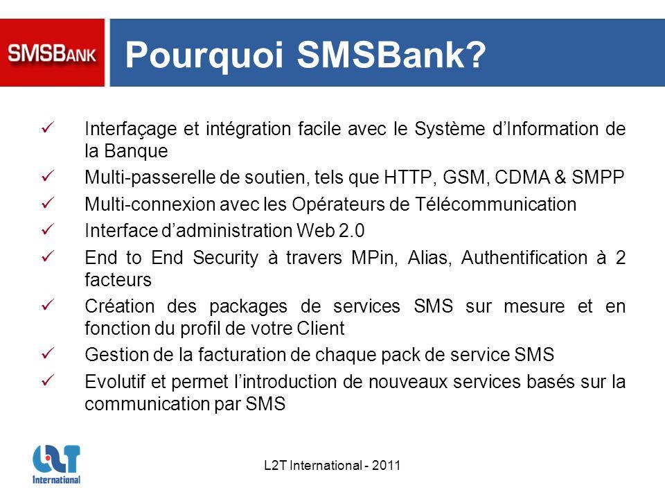 L2T International - 2011 Pourquoi SMSBank? Interfaçage et intégration facile avec le Système dInformation de la Banque Multi-passerelle de soutien, te