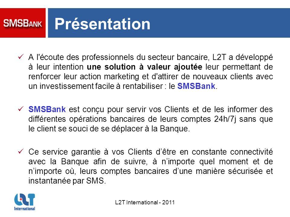 L2T International - 2011 Présentation A l'écoute des professionnels du secteur bancaire, L2T a développé à leur intention une solution à valeur ajouté