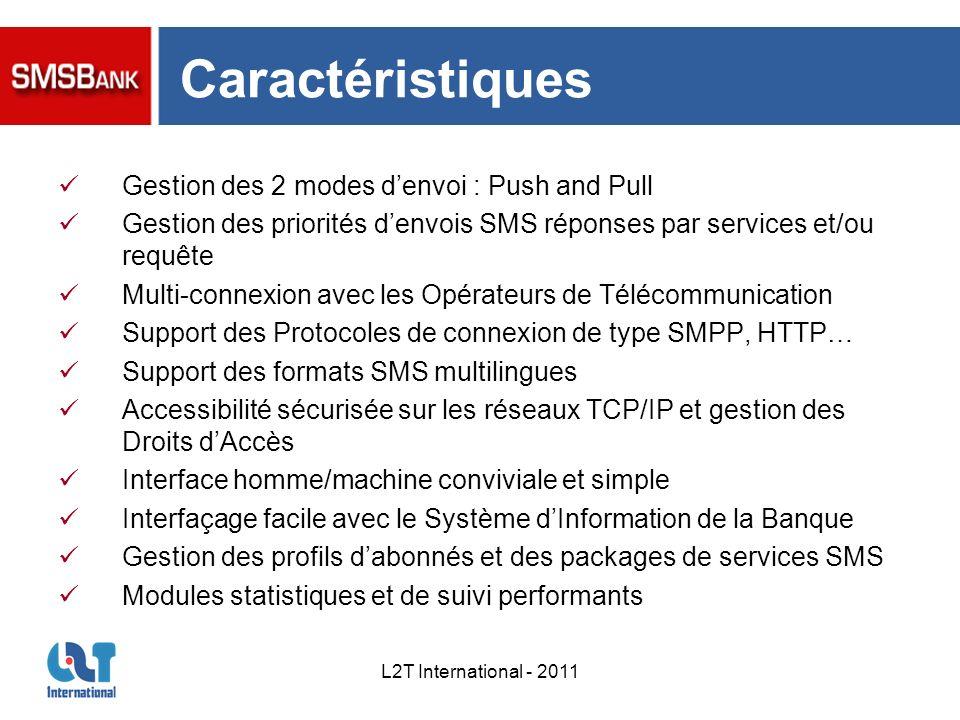 L2T International - 2011 Caractéristiques Gestion des 2 modes denvoi : Push and Pull Gestion des priorités denvois SMS réponses par services et/ou req