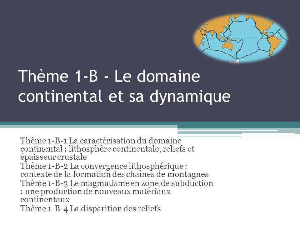 Thème 1-B - Le domaine continental et sa dynamique Thème 1-B-1 La caractérisation du domaine continental : lithosphère continentale, reliefs et épaisseur crustale Thème 1-B-2 La convergence lithosphérique : contexte de la formation des chaînes de montagnes Thème 1-B-3 Le magmatisme en zone de subduction : une production de nouveaux matériaux continentaux Thème 1-B-4 La disparition des reliefs