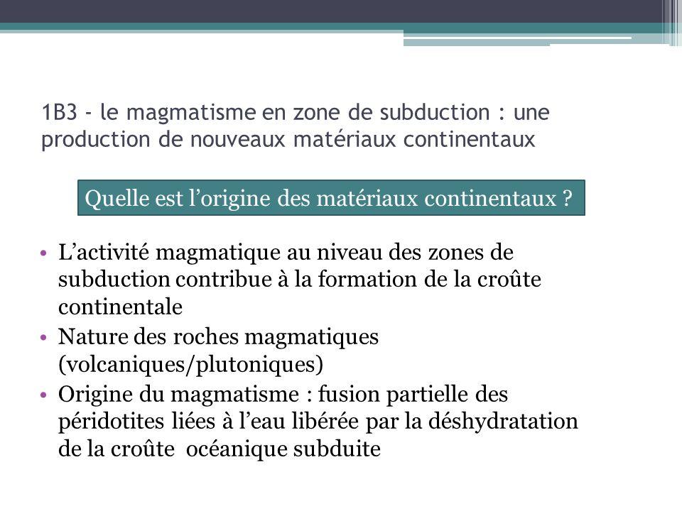 Lactivité magmatique au niveau des zones de subduction contribue à la formation de la croûte continentale Nature des roches magmatiques (volcaniques/p