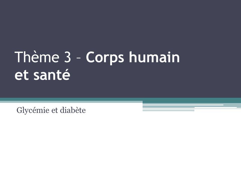 Thème 3 – Corps humain et santé Glycémie et diabète