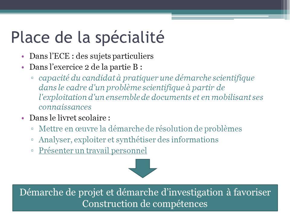 Place de la spécialité Dans lECE : des sujets particuliers Dans lexercice 2 de la partie B : capacité du candidat à pratiquer une démarche scientifiqu