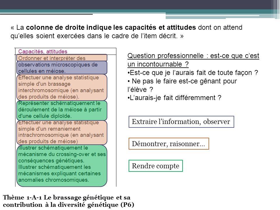 « La colonne de droite indique les capacités et attitudes dont on attend quelles soient exercées dans le cadre de litem décrit.