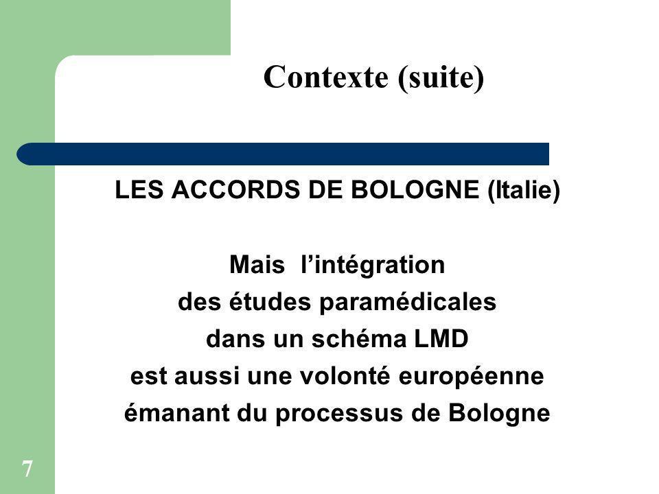 7 LES ACCORDS DE BOLOGNE (Italie) Mais lintégration des études paramédicales dans un schéma LMD est aussi une volonté européenne émanant du processus