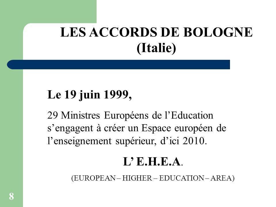 8 LES ACCORDS DE BOLOGNE (Italie) Le 19 juin 1999, 29 Ministres Européens de lEducation sengagent à créer un Espace européen de lenseignement supérieu