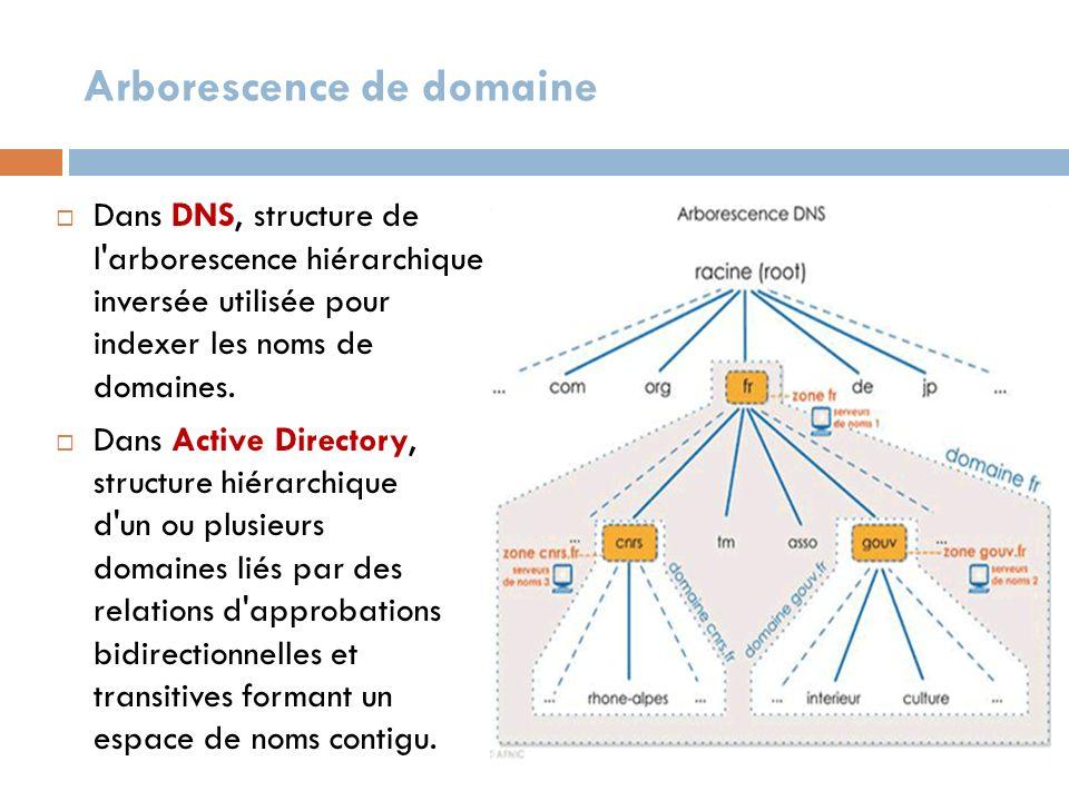 Arborescence de domaine Dans DNS, structure de l'arborescence hiérarchique inversée utilisée pour indexer les noms de domaines. Dans Active Directory,