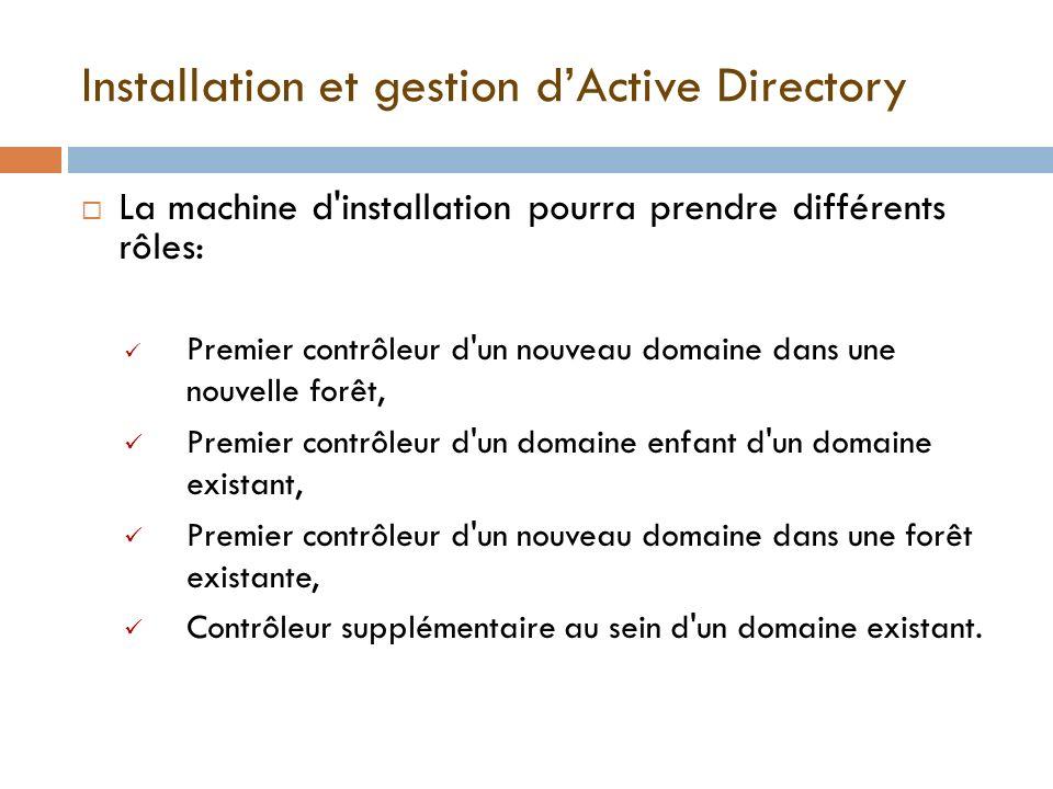 Installation et gestion dActive Directory La machine d'installation pourra prendre différents rôles: Premier contrôleur d'un nouveau domaine dans une