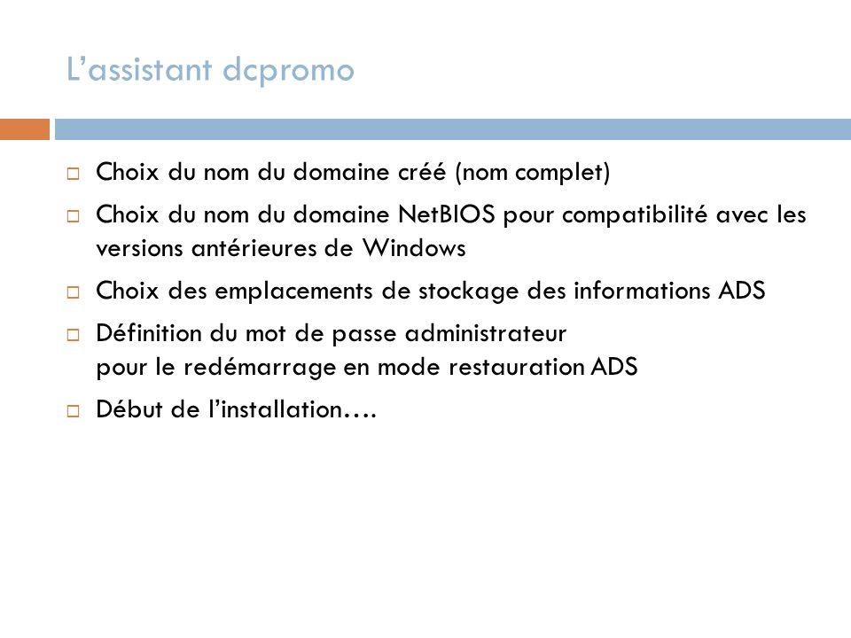 Choix du nom du domaine créé (nom complet) Choix du nom du domaine NetBIOS pour compatibilité avec les versions antérieures de Windows Choix des empla