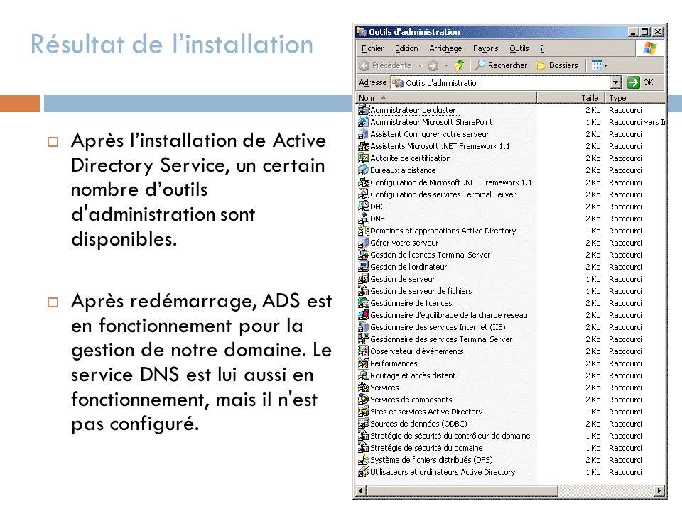 Résultat de linstallation Après linstallation de Active Directory Service, un certain nombre doutils d'administration sont disponibles. Après redémarr