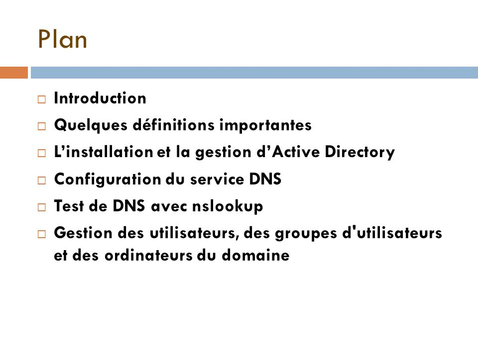 Plan Introduction Quelques définitions importantes Linstallation et la gestion dActive Directory Configuration du service DNS Test de DNS avec nslooku