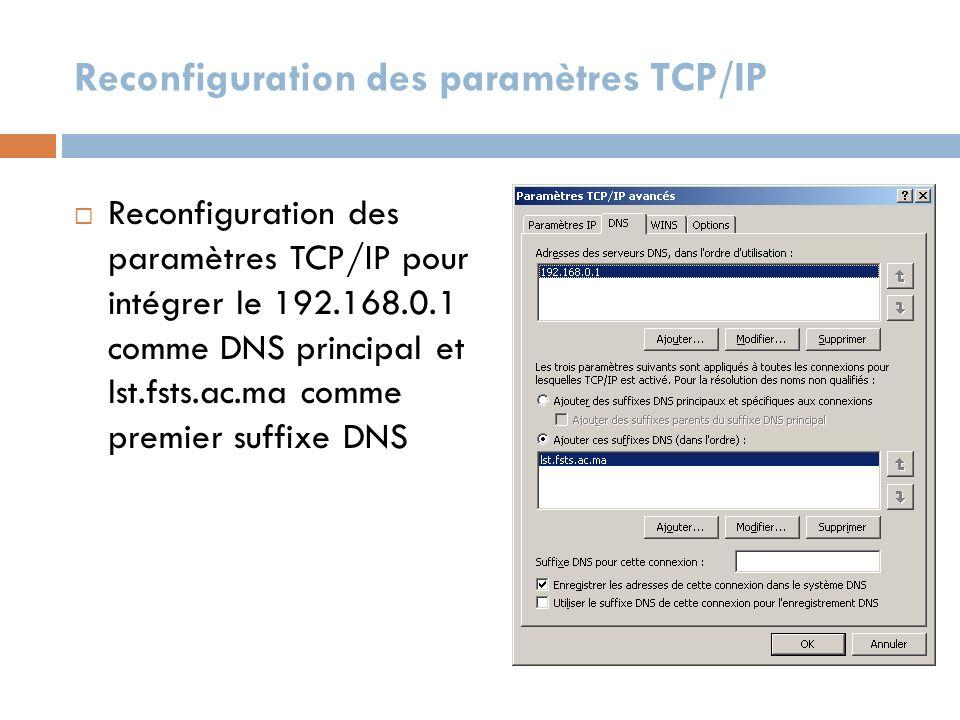 Reconfiguration des paramètres TCP/IP Reconfiguration des paramètres TCP/IP pour intégrer le 192.168.0.1 comme DNS principal et lst.fsts.ac.ma comme p