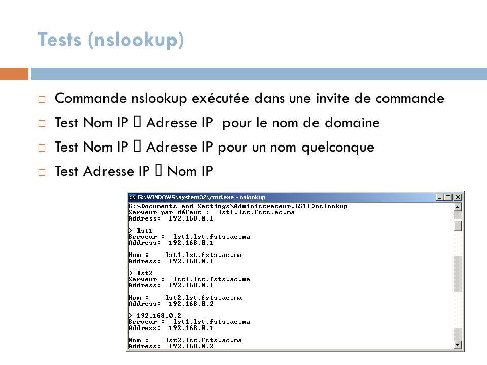 Tests (nslookup) Commande nslookup exécutée dans une invite de commande Test Nom IP Adresse IP pour le nom de domaine Test Nom IP Adresse IP pour un n