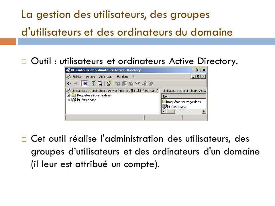 La gestion des utilisateurs, des groupes d'utilisateurs et des ordinateurs du domaine Outil : utilisateurs et ordinateurs Active Directory. Cet outil