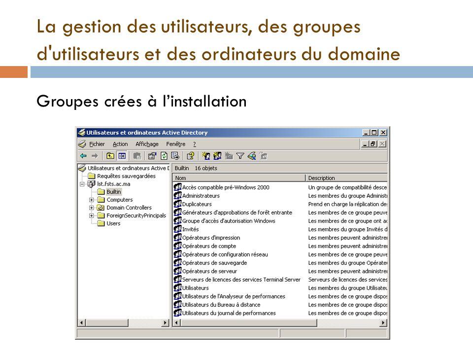 La gestion des utilisateurs, des groupes d'utilisateurs et des ordinateurs du domaine Groupes crées à linstallation